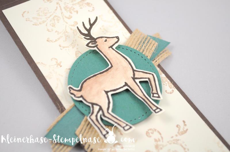 Stampin Up Bernau Berlin Hirsch Flaschenanhänger Danke Zum Dank Weihnachtsschlitten Timeless Textured Stickmuster 2