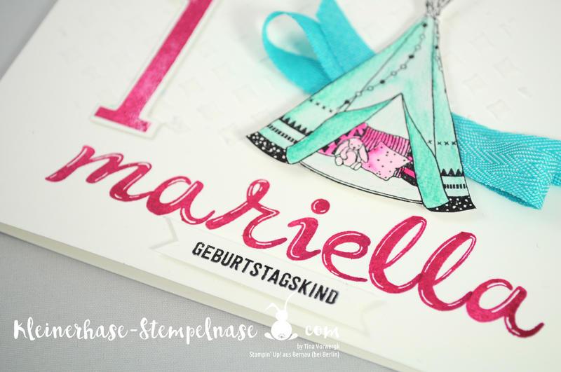 Stampin Up Bernau Berlin Little One Geburtstag Kinder Tipi Baby Große Zahlen Hand lettered 3