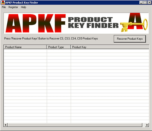 APKF Adobe Product Key Finder Crack Free v2.5 2