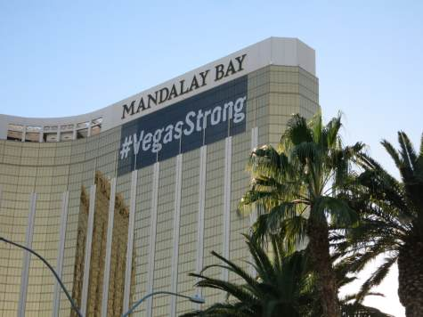 A #VegasStrong banner now covers the area where shooter Stephen Paddock broke the window to his 32nd-floor suite on Oct. 1, killing 59 people attending an open music festival on the Vegas Strip.