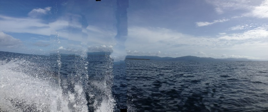 A panoramic shows just how choppy the water can get.