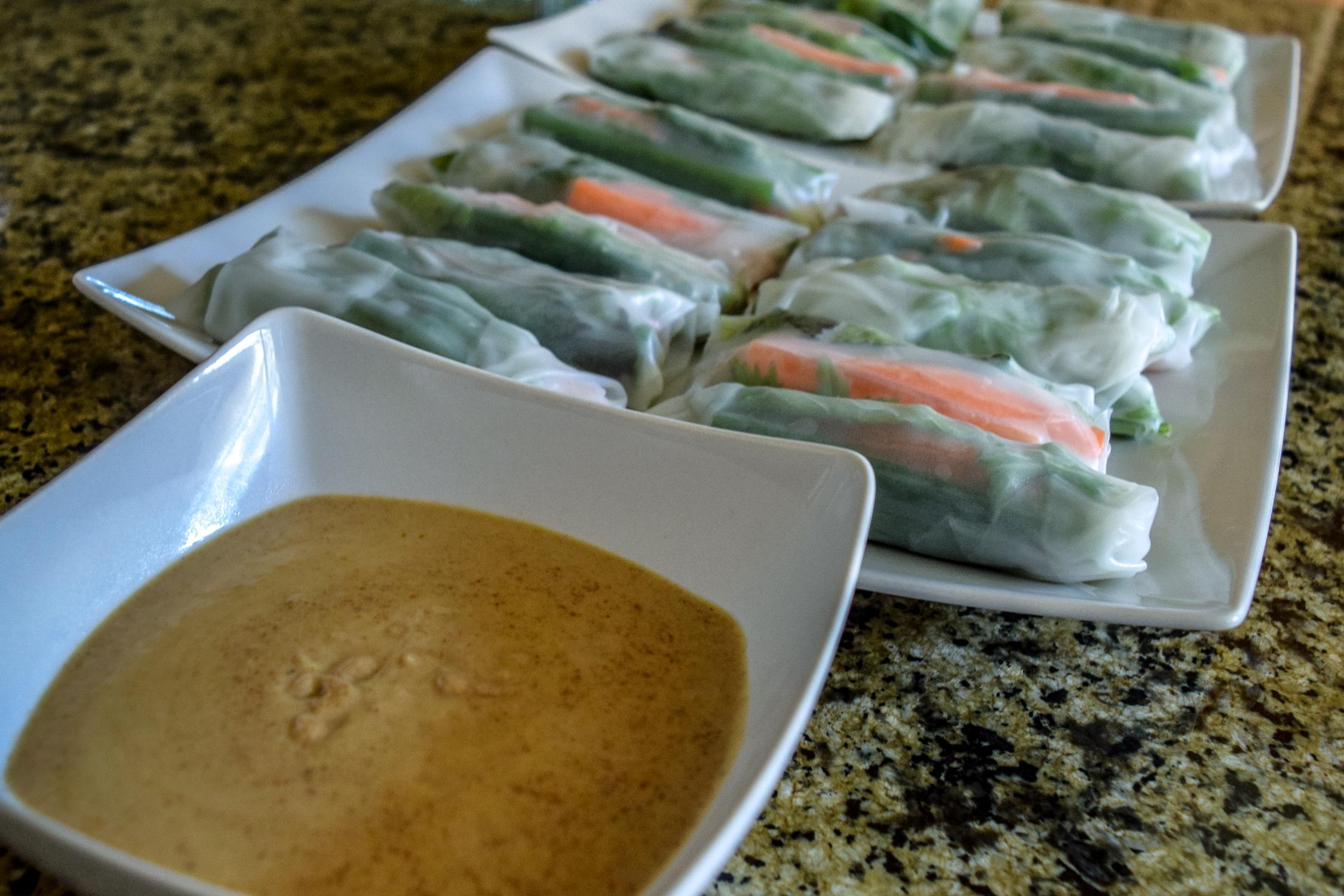 Veggie Spring Rolls + Peanut Dipping Sauce