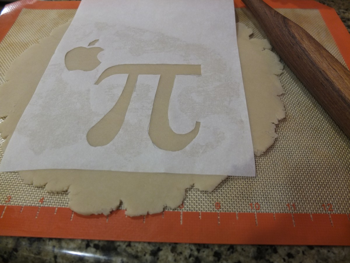 Cut out Apple Pi stencil for Apple Pie