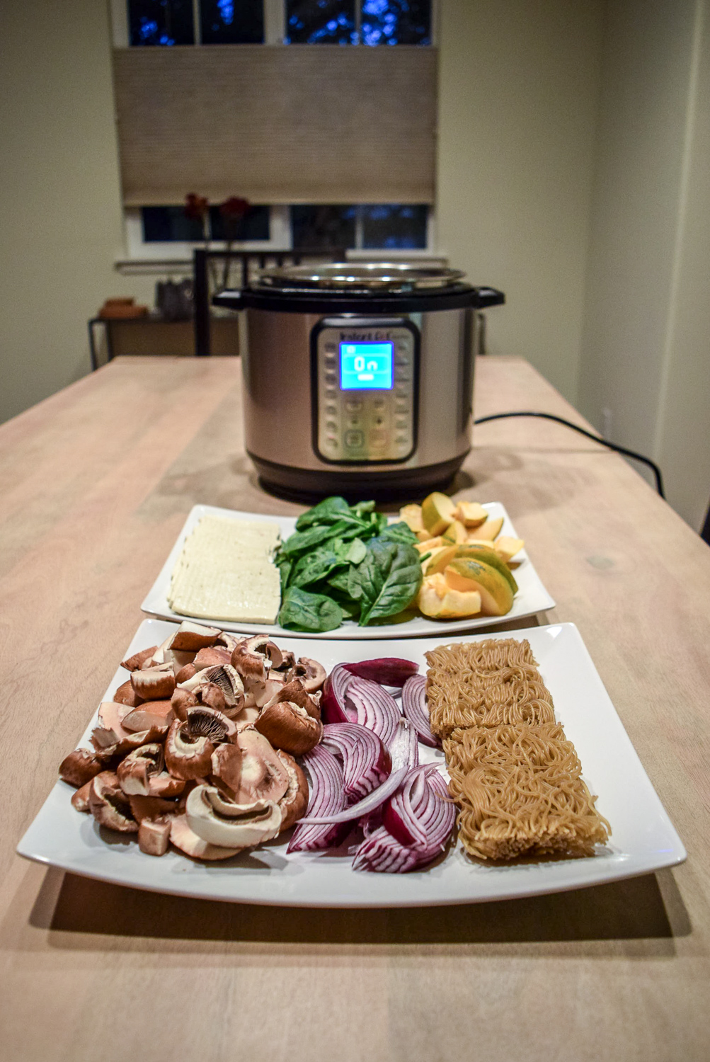 Instant Pot Hot Pot with Vegetables, Tofu, and Ramen Noodles from angle