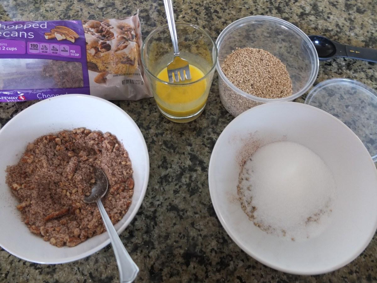 Filling ingredients for Sesame and Pecan Schnecken Rolls with Orange Glaze