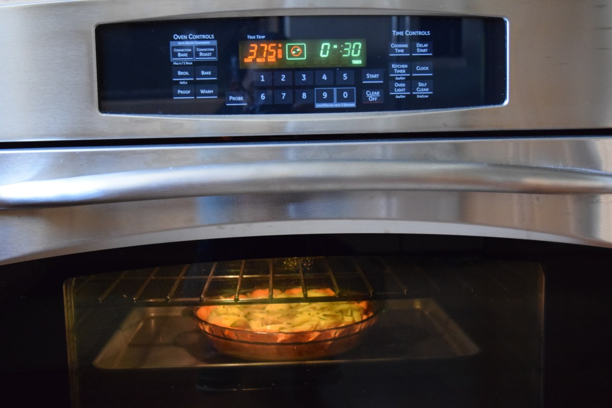 Quiche baking in the oven