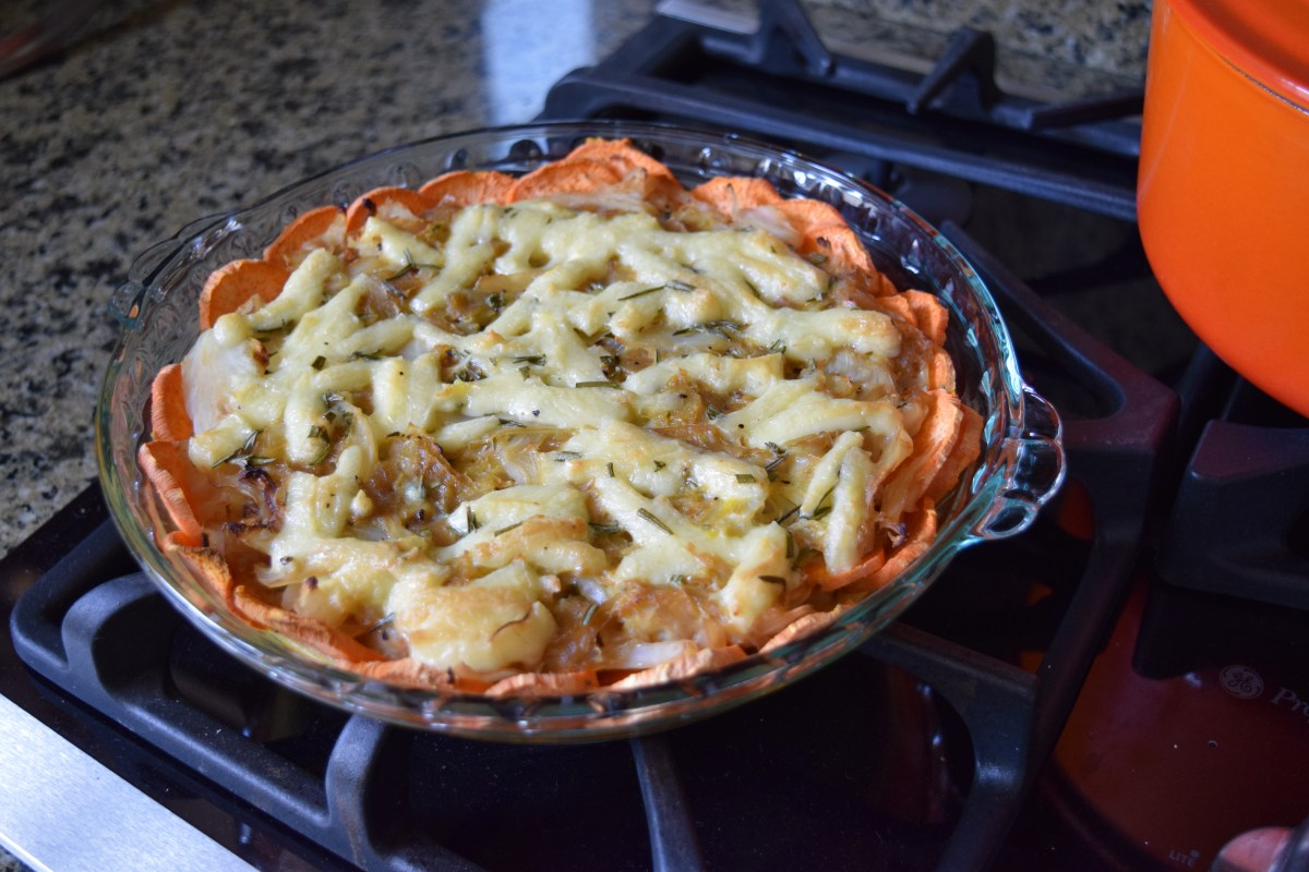 Finished Sweet Potato Caramelized Onion Cabbage Quiche from side
