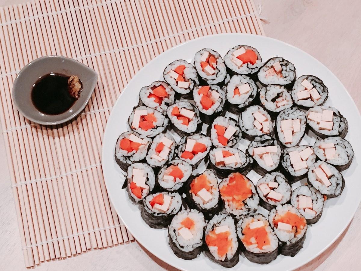 Finished Teriyaki Tofu and Veggie Sushi from above