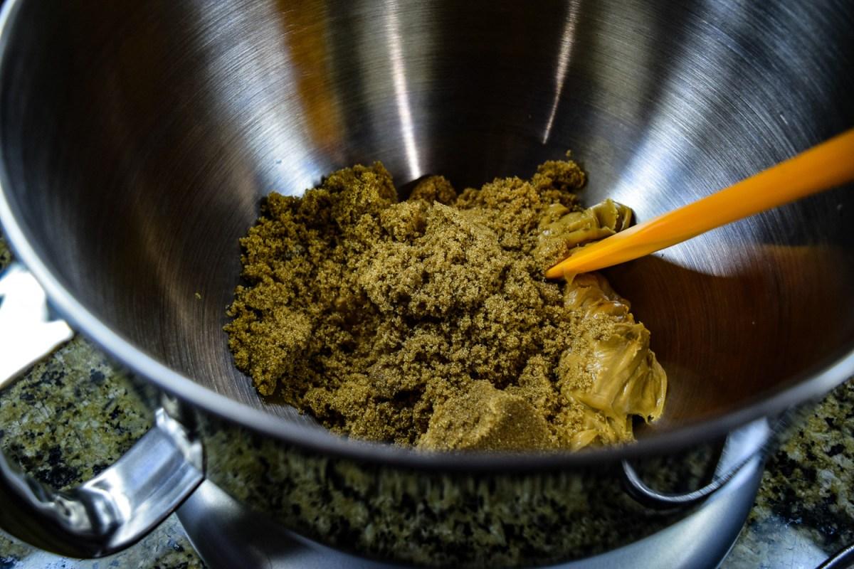 Peanut butter and brown sugar in KitchenAid Mixer bowl up close