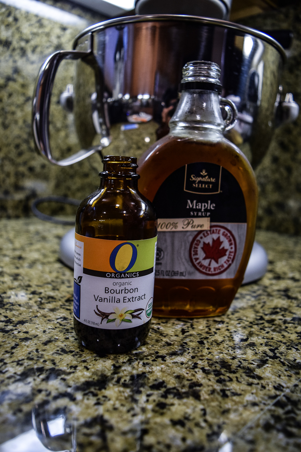 Vanilla extract and maple syrup to add to the peanut butter and brown sugar mixture