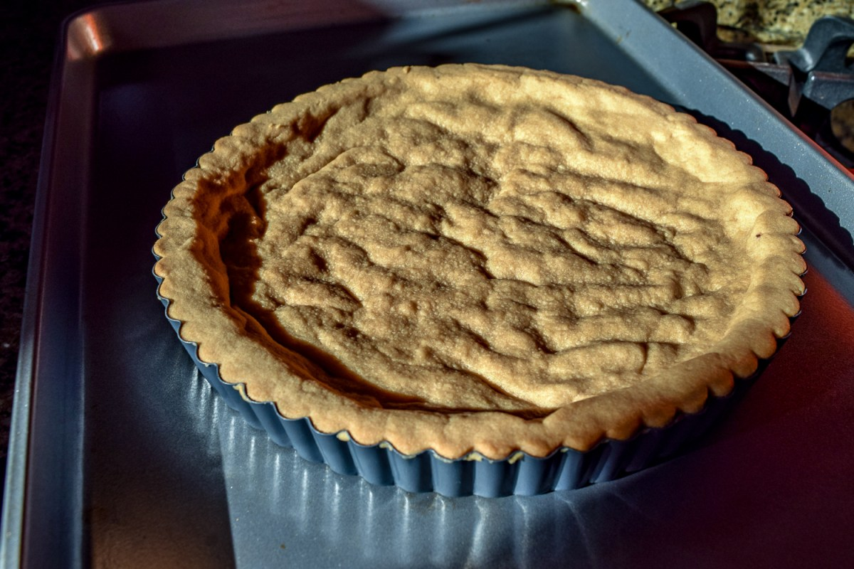 Blind baked shortbread crust for Spicy Mexican Hot-Chocolate Ganache Tart