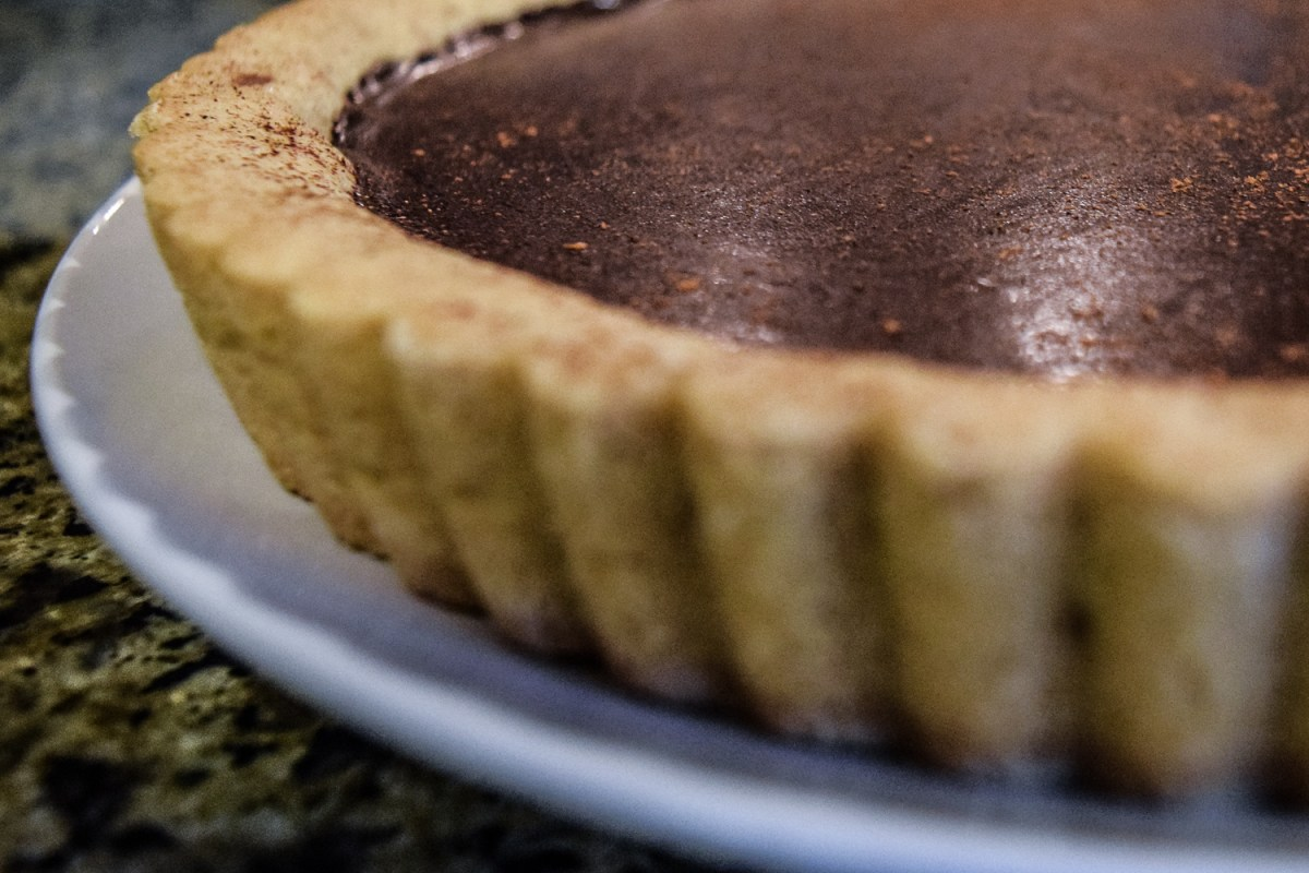 Finished Spicy Mexican Hot-Chocolate Ganache Tart from side up close