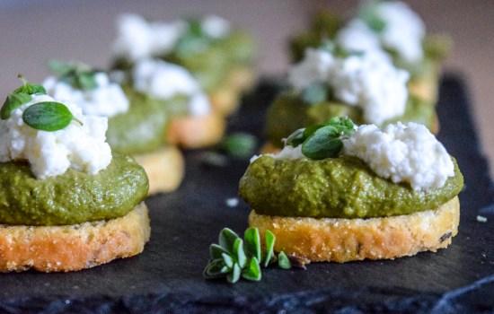 Marjoram Pea Pesto Crostini with Fresh Ricotta