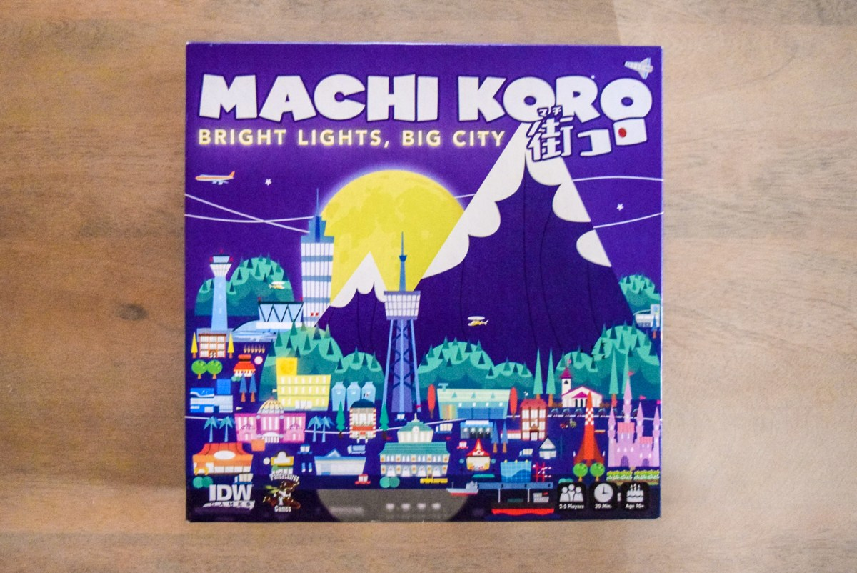 Machi Koro: Bright Lights, Big City box from the top