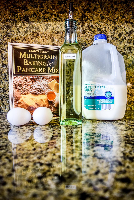 Ingredients for Multigrain Pancakes: Trader Joe's Multigrain Baking & Pancake Mix, Milk, Canola Oil, and Eggs