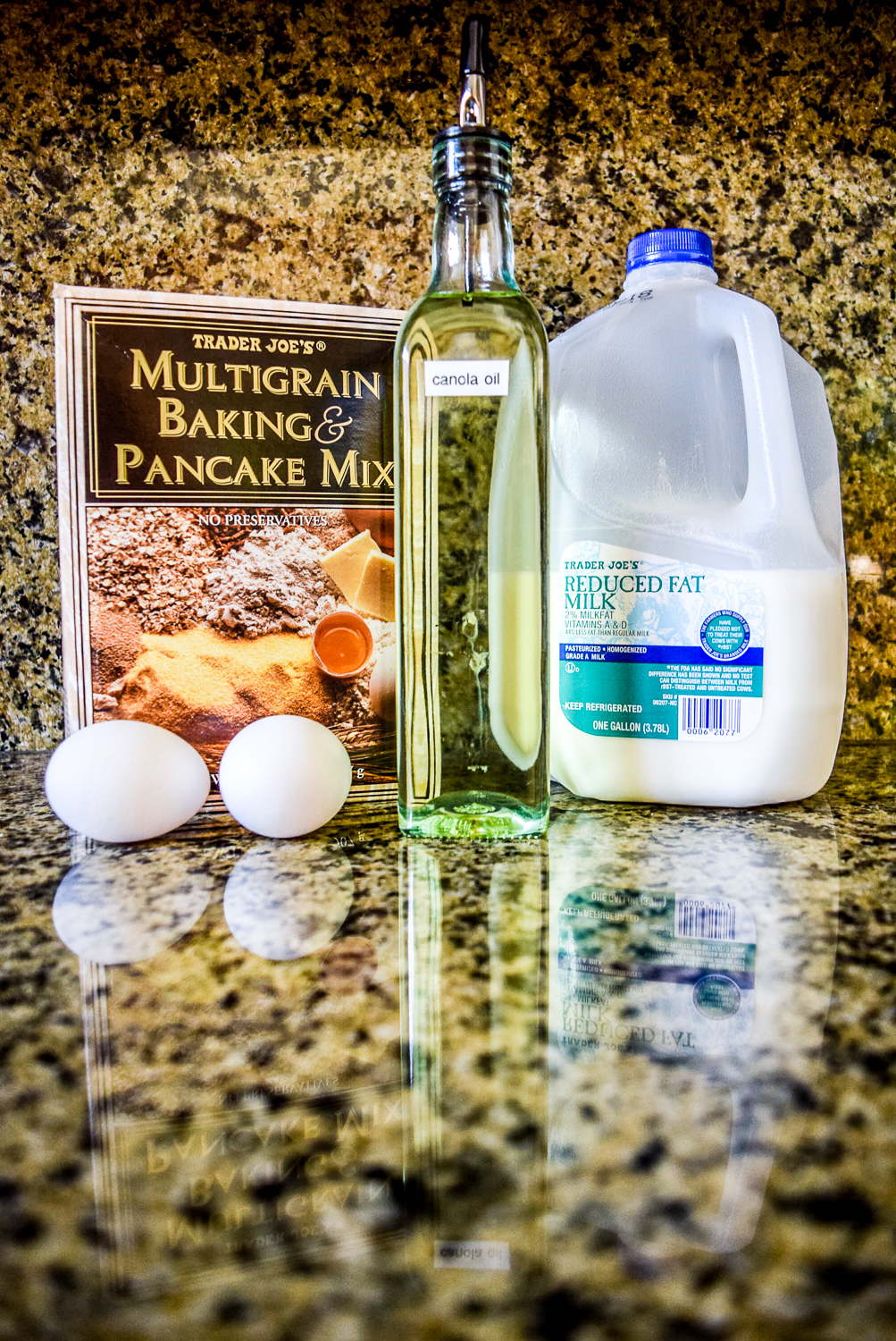 Ingredients for Multigrain Pancakes: Trader Joe's Multigrain Baking & Pancake Mix, Milk, Canola Oil, and Eggs
