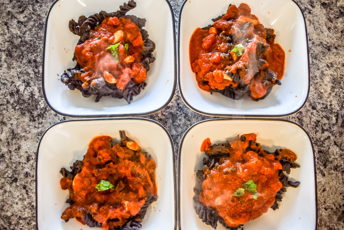 Hearty Black Bean Pasta with Marinara and Trader Joe's Organic Black Bean Rotini from top