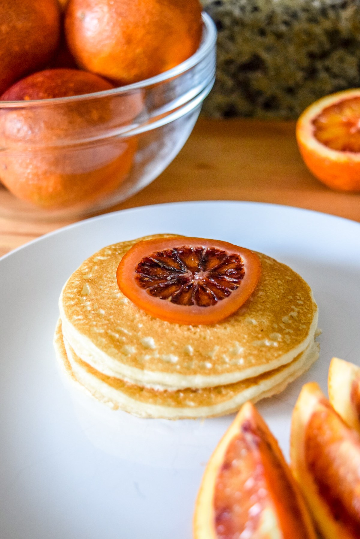 Trader Joe's frozen pancakes with blood orange slices and candied blood orange round from front up close