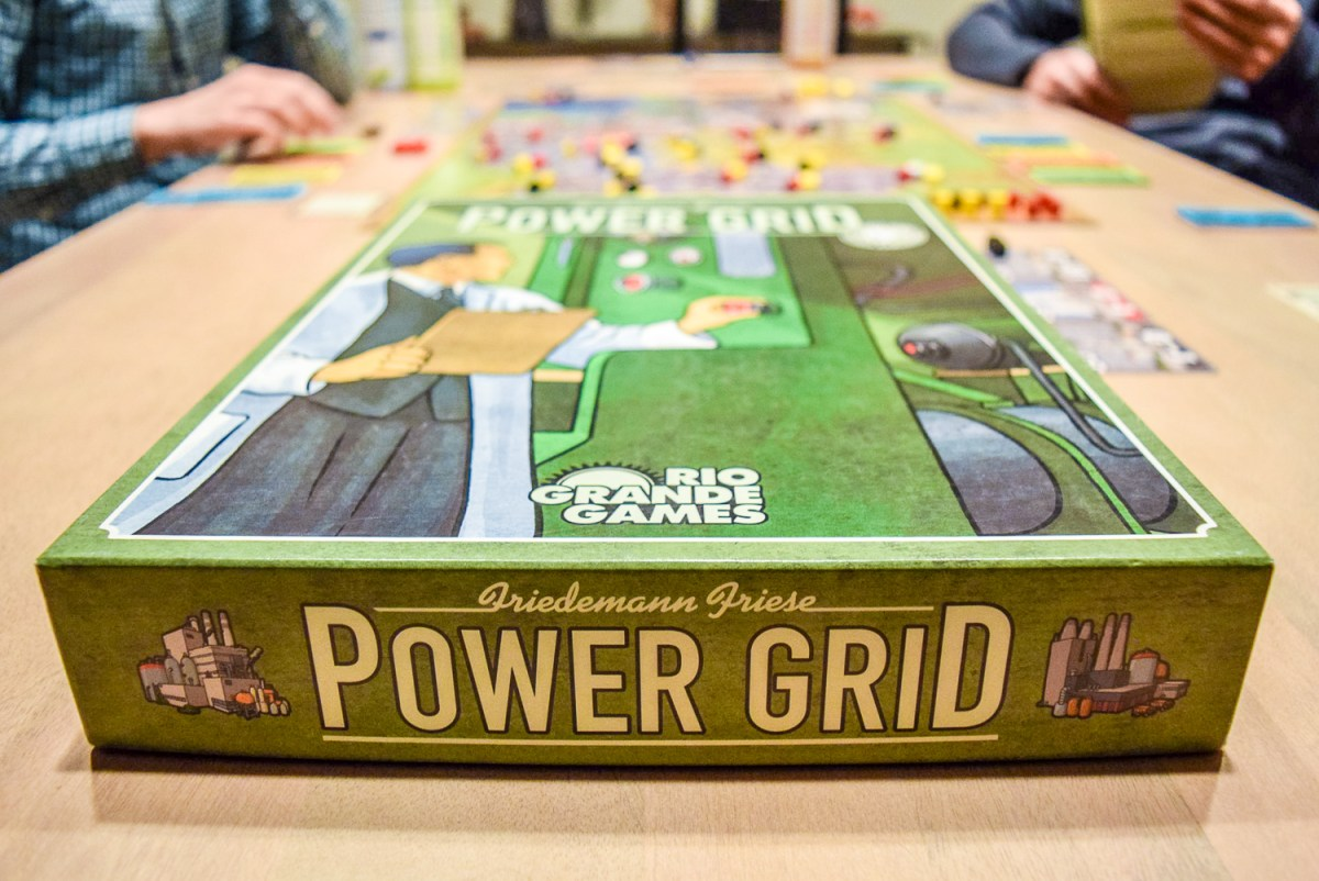 Power Grid Board Game during game with game box