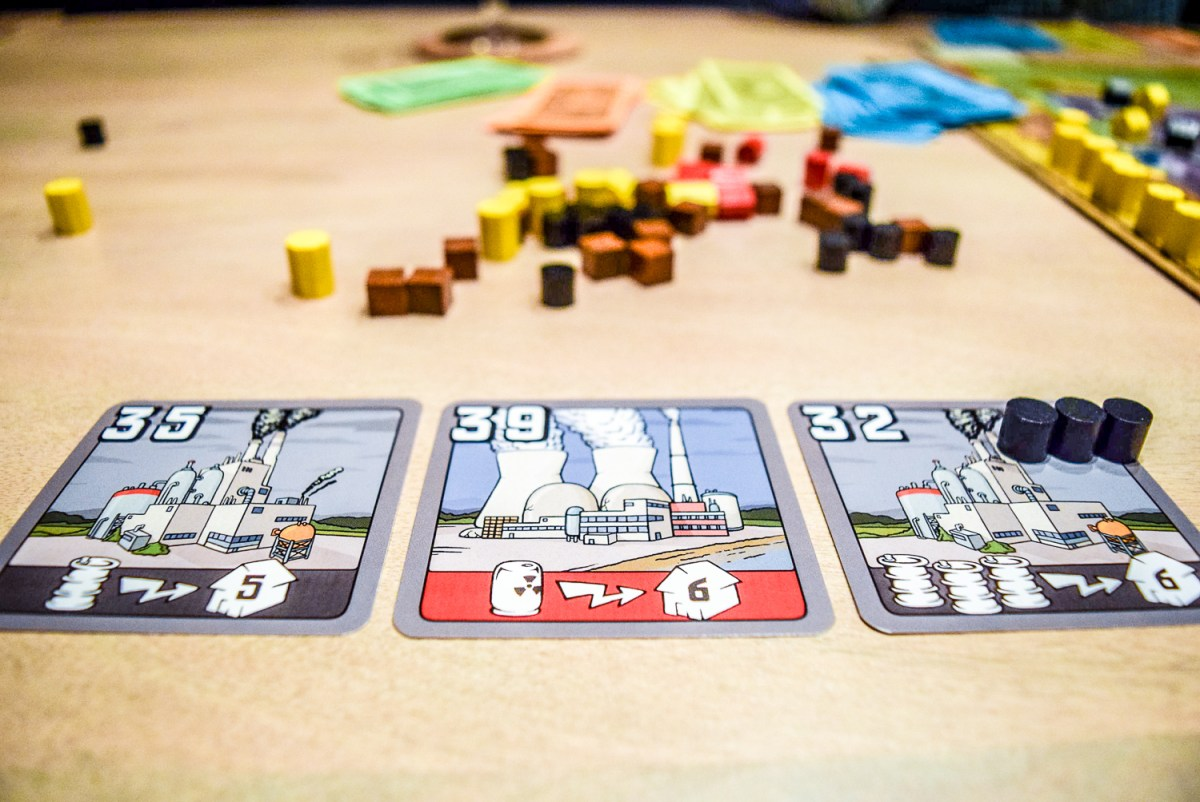 Power plants for Power Grid Board Game up close