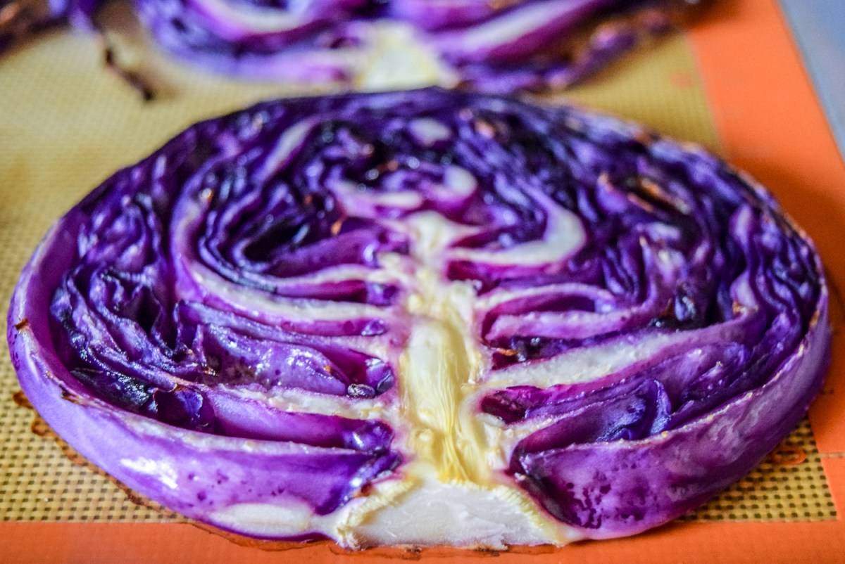 Roasted vegan red cabbage steak on sheetpan