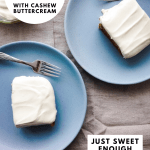 a pinterest graphic with the title of the recipe and two slices of cake on blue plates