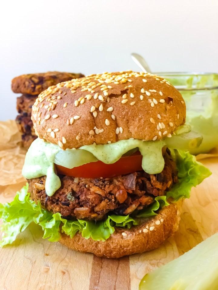Smoky BBQ Black Bean Burgers with Green Goddess Ranch