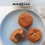 overhead shot of the muffins with a bite taken out of one on a blue plate