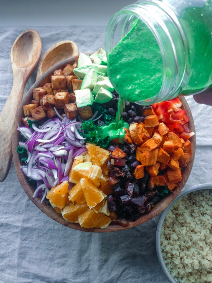 Santa Fe Salad with Crispy Tofu and Cilantro Goddess Dressing