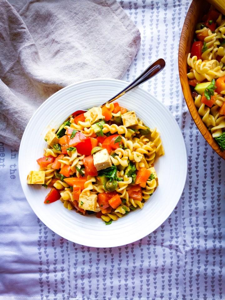vegan Greek pasta salad with Tofu Feta Recipe