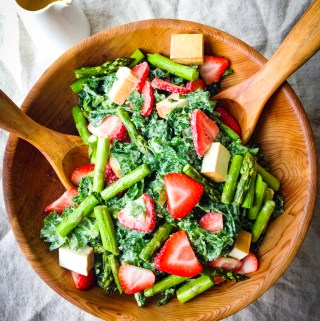 Smoked Tofu Strawberry Asparagus Salad with Creamy Tahini Dressing Recipe