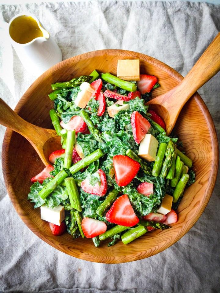 Smoked Tofu Strawberry Asparagus Salad with Creamy Tahini Dressing Recipe