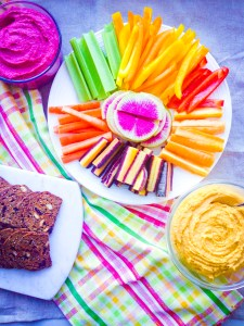 Homeade hummus, 2 ways: Beet and Sweet Potato! A rainbow of hummus, best served with fresh veggies and crackers.