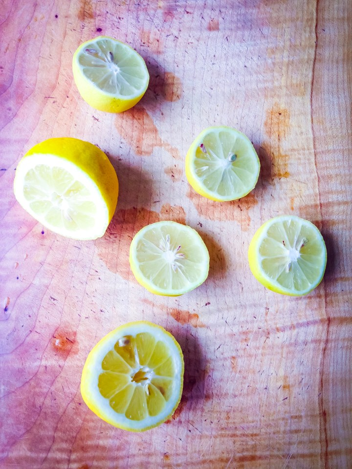 Lemons used in the tofu ricotta for raw romaine taco boats