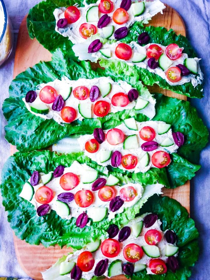 Raw Romaine Taco Boats with Tofu Ricotta, Tomato, Cucumber, Olives | UpBeet Kitchen
