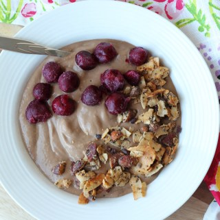 Chocolate Protein Smoothie Bowl with Grain-Free Granola and Cherries