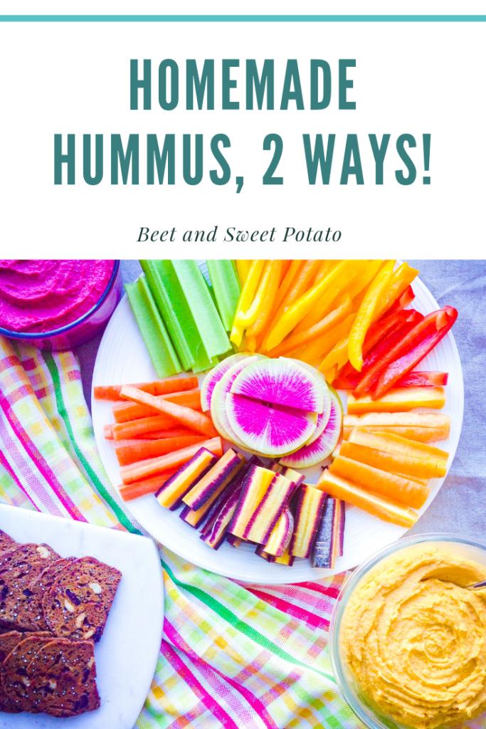 Homemade Hummus, 2 Ways! Beet and sweet potato hummus recipes | UpBeet Kitchen