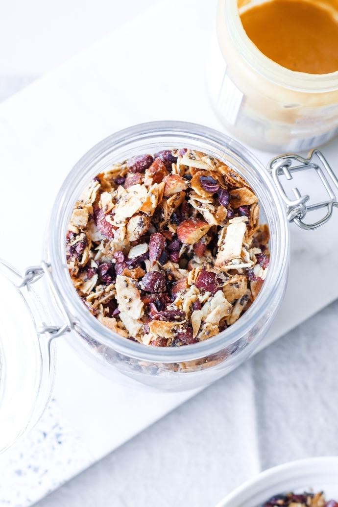 Maple Coconut Grain-Free Granola in a glass jar
