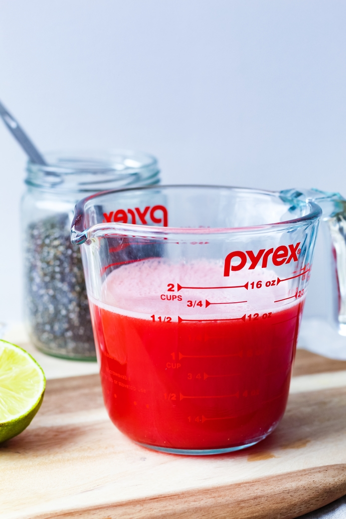 Homemade watermelon juice: the base for the watermelon lime chia fresca.