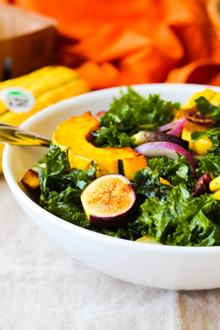 Roasted Delicata Squash, Fig, and Pecan Kale Salad