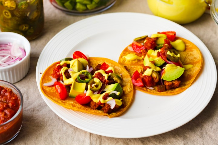 Tempeh Tacos with Queso, Pickled Jalapenos, and Avocado