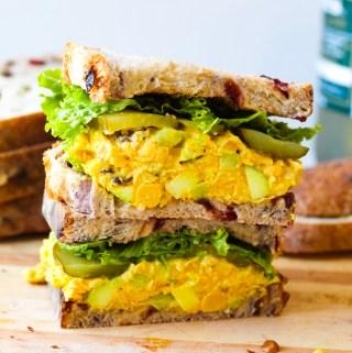 Vegan Curried Chickpea Salad Sandwich (Mayo-Free)