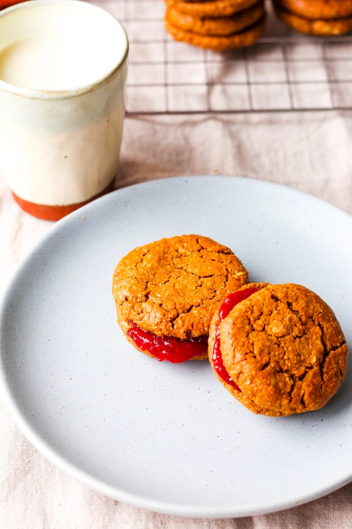 Vegan Peanut Butter and Jam Sandwich Cookies