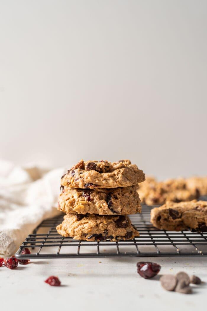 Vegan Cranberry Orange Oatmeal Cookies
