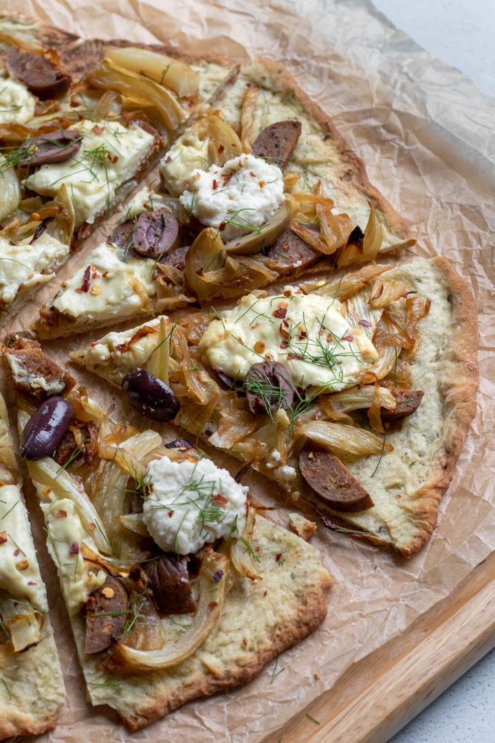 Vegan Fennel, Sausage, Ricotta Pizza from My Quiet Kitchen