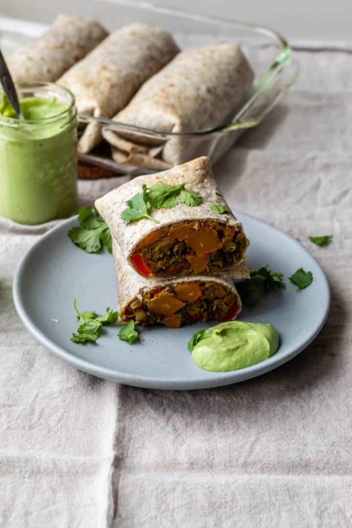 Vegan Butternut Squash and Lentil Burritos