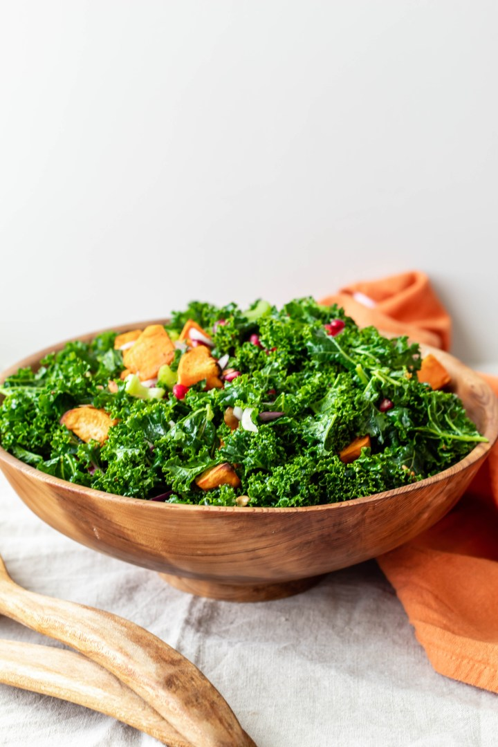 FESTIVE POMEGRANATE, SWEET POTATO, AND PEPITA KALE SALAD