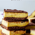 stack of three vegan nanaimo bars with text for pinterest