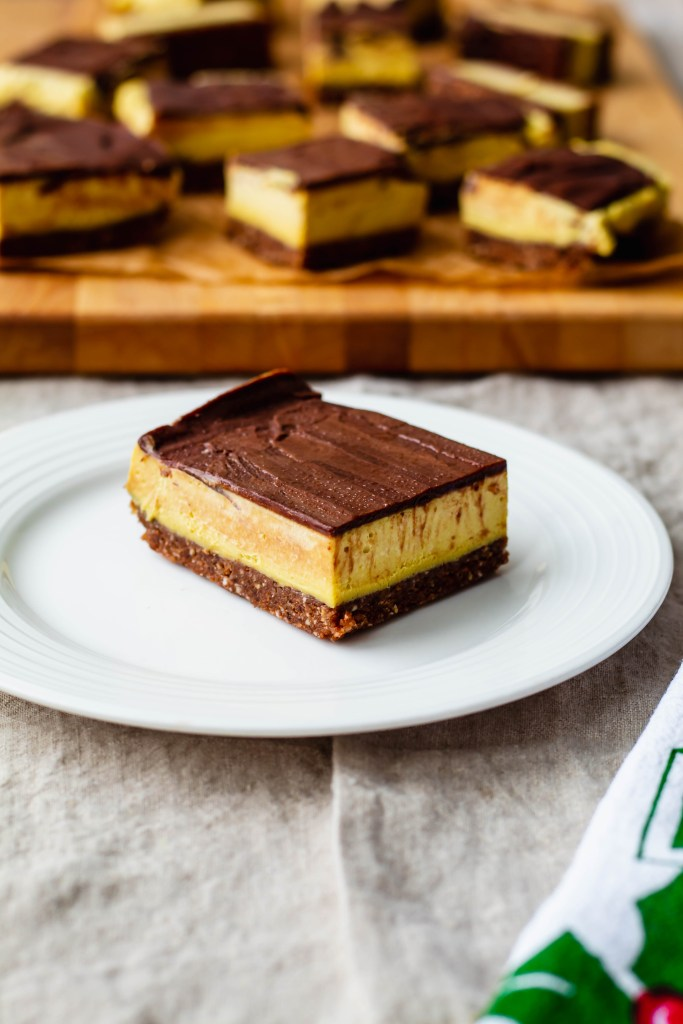 A recipe for almost raw vegan Nanaimo bars made with healthy wholesome ingredients