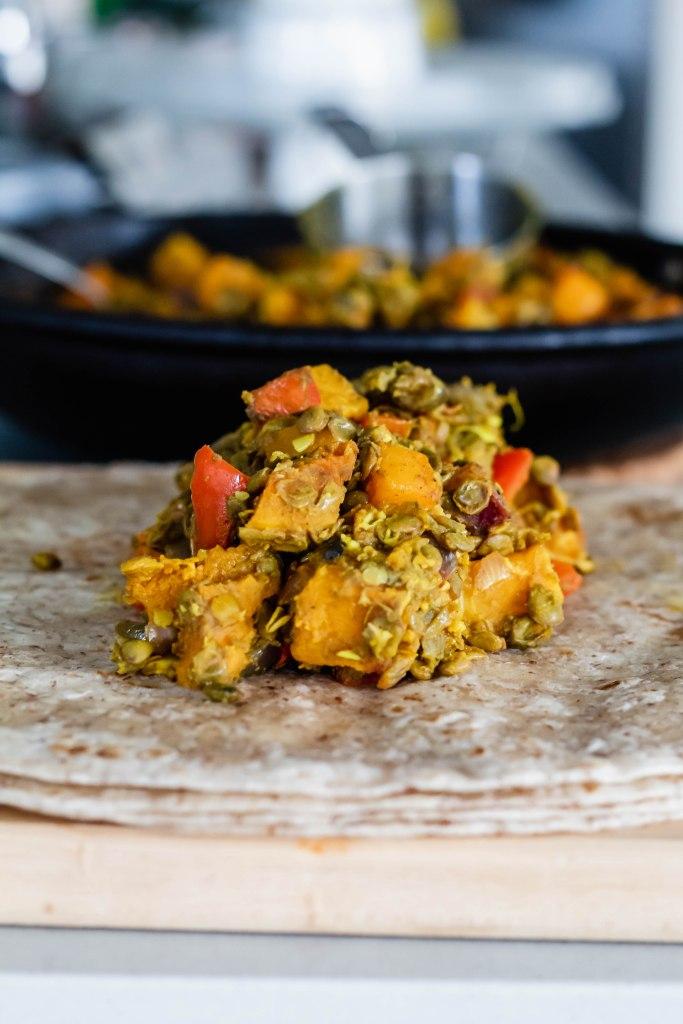 Vegan Lentil and Butternut Squash Roti Recipe